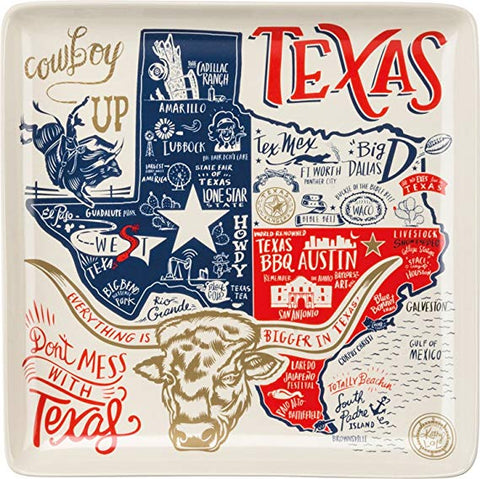 Texas Square Ceramic Plate - Ny Texas Style Boutique