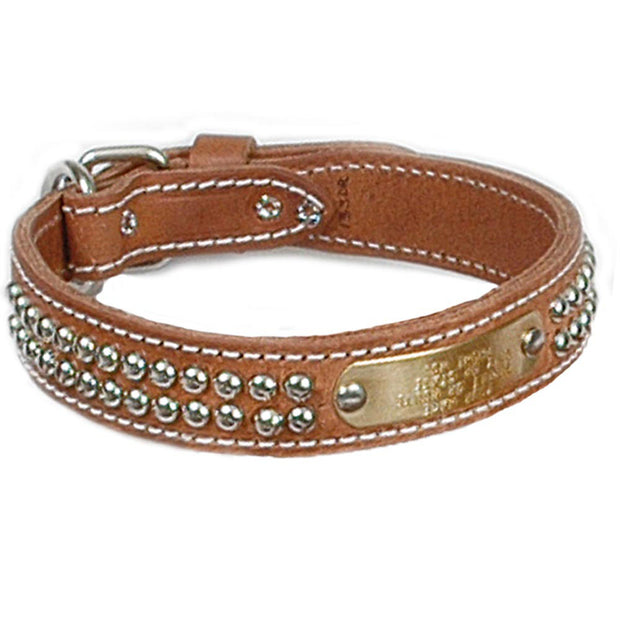 "Double Ply 1 1/4"" Wide Stitched & Studded Leather Dog Collar"