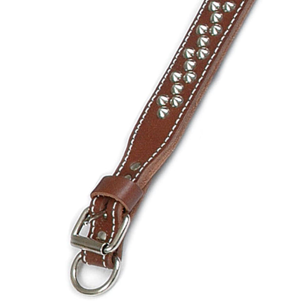 "Double Ply 2"" Wide Leather Studded Dog Collar"
