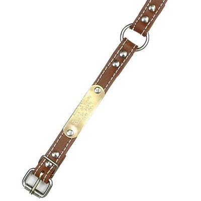 "Double Ply 3/4"" Wide Stitched Leather Dog Collar - Ring-N-Center"