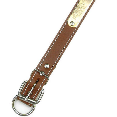 "Double Ply 7/8"" Wide Stitched Leather Dog Collar - D-Ring in Front"