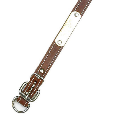 "Double Ply 3/4"" Wide Stitched Leather Dog Collar - D-Ring in Front"