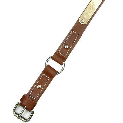 "Single Ply 1"" Wide Stitched Leather Dog Collar - Ring-N-Center"