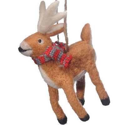 Felted White Tail Deer Ornament