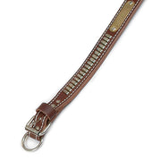 "Double Ply 1 1/4"" Wide Stitched Leather Dog Collar With Oblong Studs"