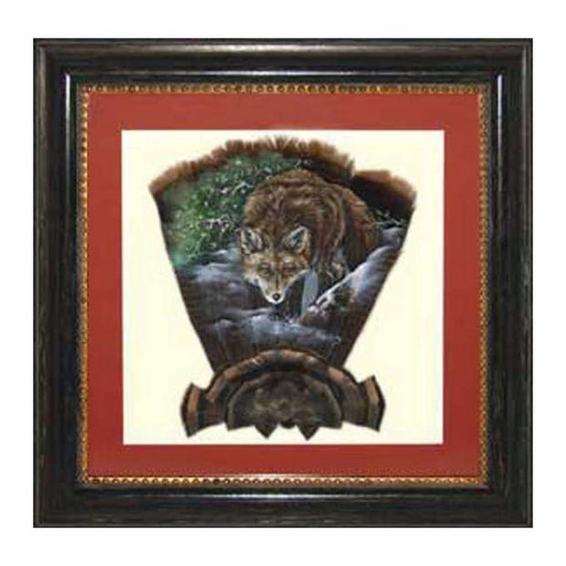 Framed Turkey Feather Print With Fox By Pamela Kelly