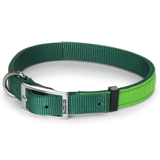 "Nite Lite Reflexite Nylon 3/4"" D-Ring in Front Reflective Dog Collar"