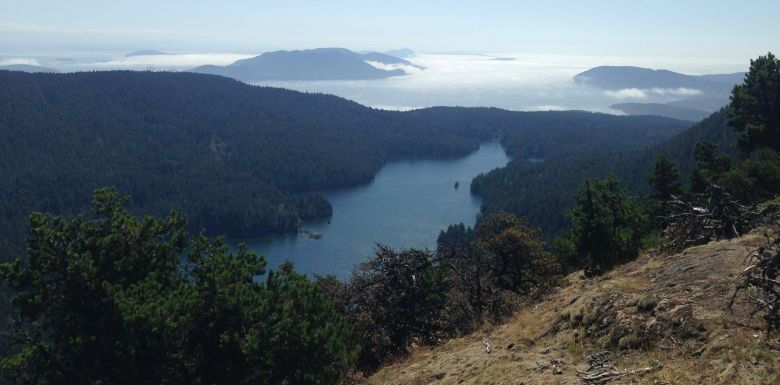 View of Mountain Lake & San Juan Islands from Mt. Constitution