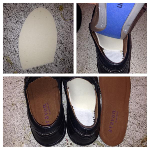 Fitting foam pad in shoe