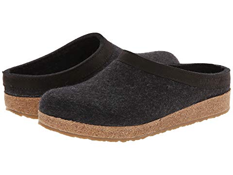 HAFLINGER GRIZZLY LEATHER CHARCOAL  - SIZES 35-42
