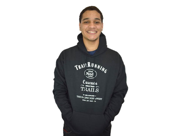 TRAIL RUNNING HOODIE BLACK AND WHITE UNISEX