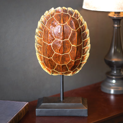 Resin Turtle Shell on Wood Stand