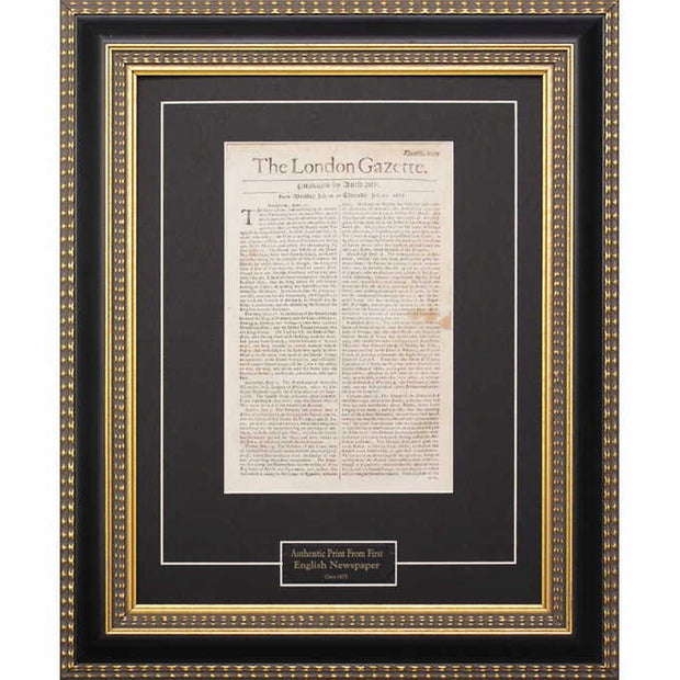 Framed London Gazette Newspaper