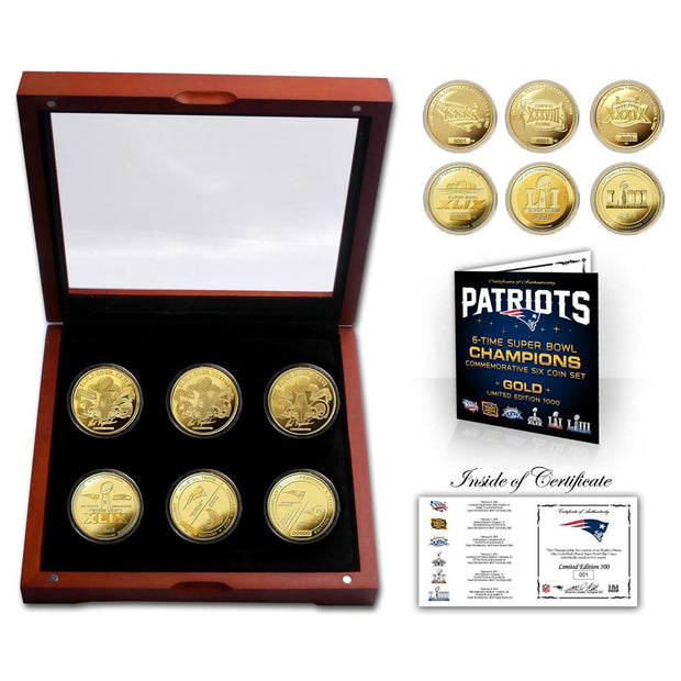 New England Patriots 6-Time Super Bowl Champions Gold Coin Set