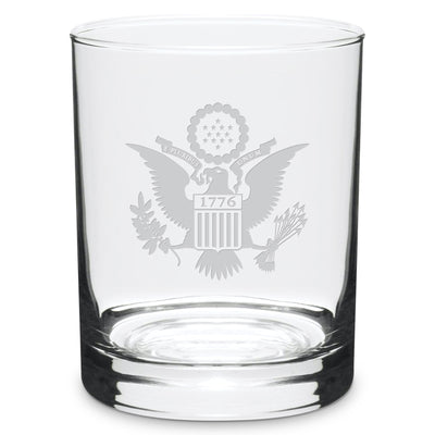 Etched Eagle Crest Double Old Fashioned Glasses