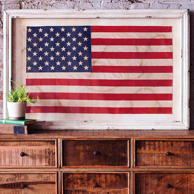 Framed American Flag Under Glass