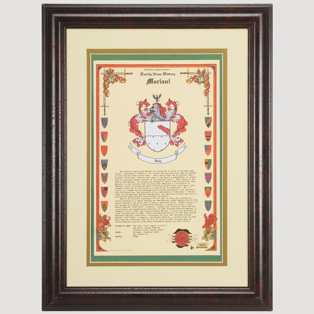 Framed Coat Of Arms Personalized History