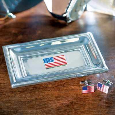 American Flag Tray and Cufflink Set