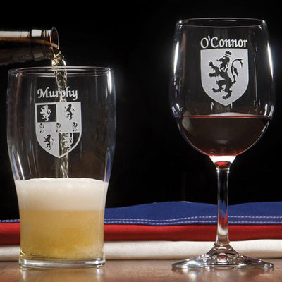 Personalized Coat Of Arms Pint Glasses