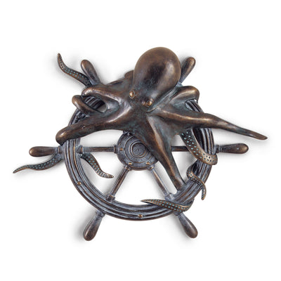 Octopus on Ship Wheel Plaque