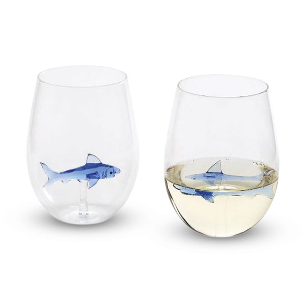 Great White Shark Stemless Wine Glasses