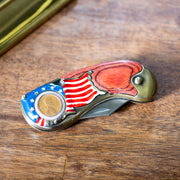 American Flag Lincoln Penny Pocket Knife