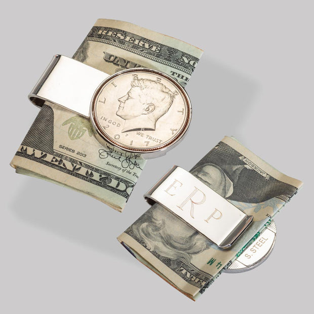 Silvertone Year to Remember Half Dollar Monogrammed Money Clip