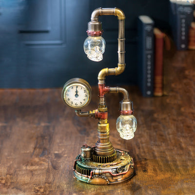 Steampunk Pipework Clock Light