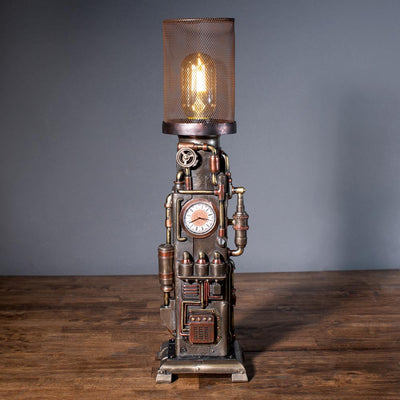 Steampunk Beacon Tower Clock with Lamp