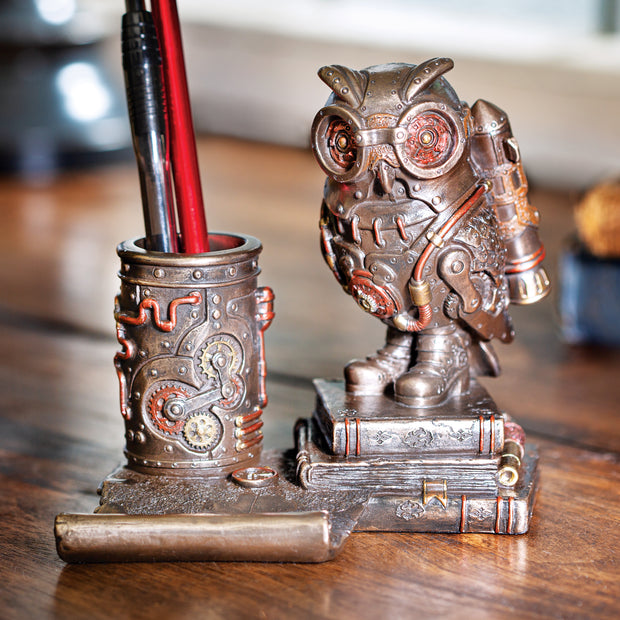 Steampunk Owl Cell Phone Stand/Pen Holder