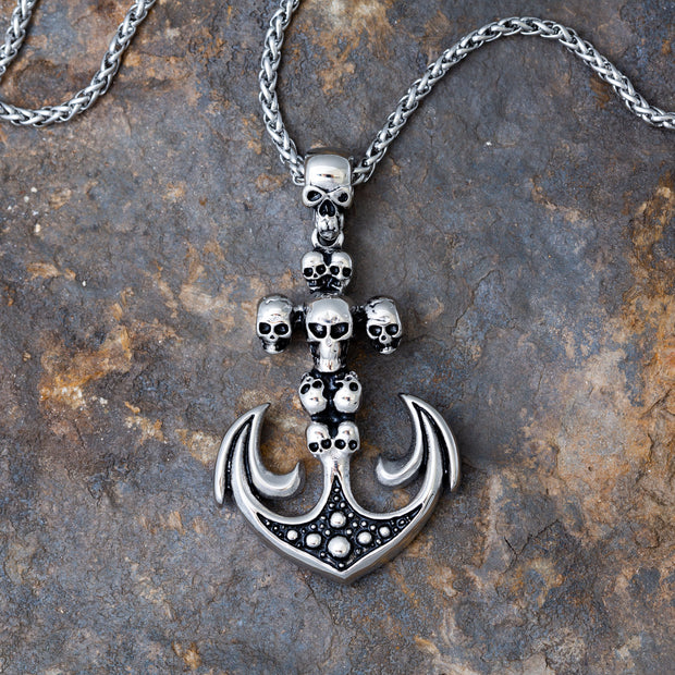 Crucible S. Steel Skull Anchor Pendant