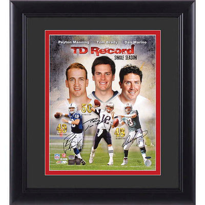 Autographed Quarter Back Touchdown Record Manning, Brady, Marino