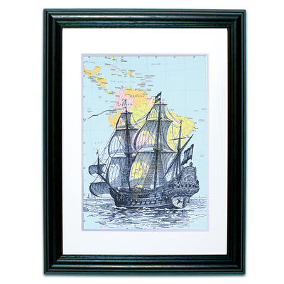 Framed Ship on Replica Atlas Page