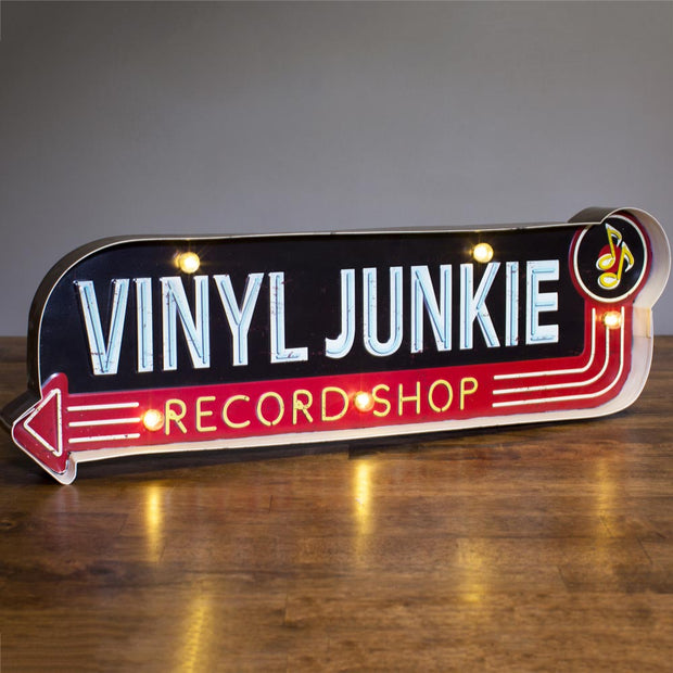 Vinyl Junkie Metal Sign