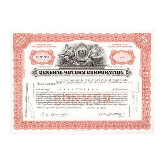 Framed General Motors Stock Certificate