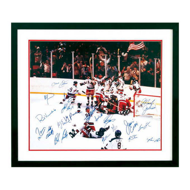 Framed Photo Of The Miracle On Ice Autographed By The Team