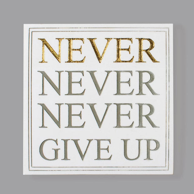 Never Give Up Quote Plaque