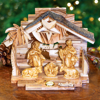 Olive Wood Music Box Nativity
