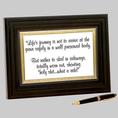 Life's Journey Framed Quote