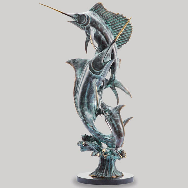 Grand Slam Marlin and Sailfish Sculpture