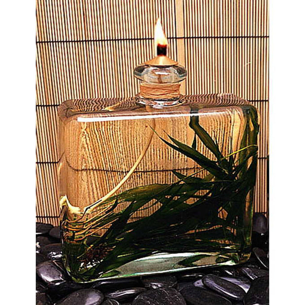 Square Bamboo Oil Lamp