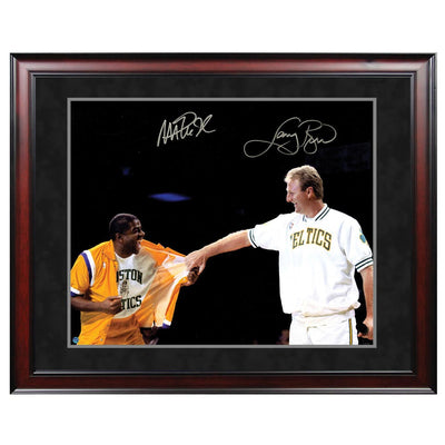 Magic Johnson and Larry Bird Signed Retirement Photo