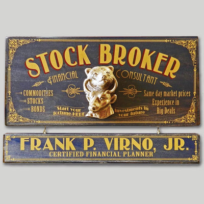 Stock Broker Occupational Sign with Name Board