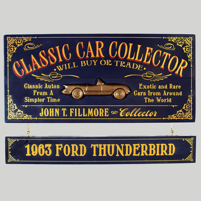 Car Collector Sign with Name Board