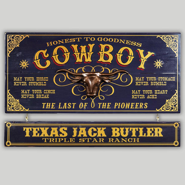 Cowboy Sign with Name Board