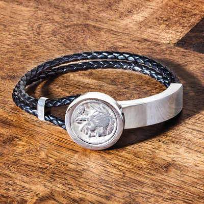 Buffalo Nickel Coin Leather Bracelet