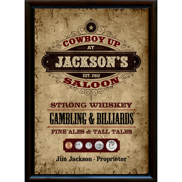 Personalized Year to Remember Cowboy Pub Sign