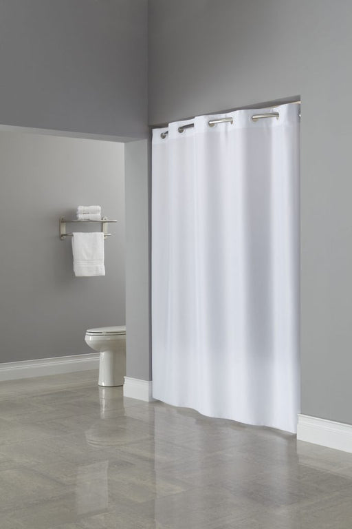 71x80 - Plain Weave Hookless white shower curtain for ADA compliant showers. Plain 80 inches long polyester shower curtain. Price per dozen