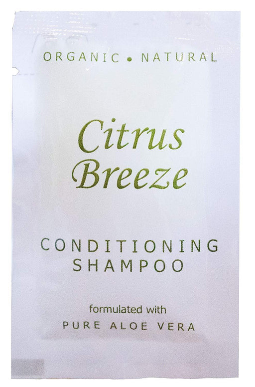 Hotel-Motel Conditioning-shampoo. Citrus Breeze Naturals-collection. with organic Aloe Vera 0.25 oz/7.5ml sachet. 500 items pack, 0.17 USD per item
