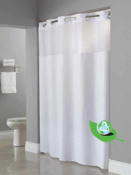 Recyclable RePET material hookless shower curtain
